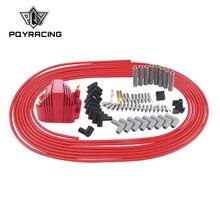 PQY - 10 m/ensemble bougies fils spirale noyau 8.5mm + 12V e-core bobine dallumage pour Chrysler Hemi Pro Stock pour Ford Dodge ensemble