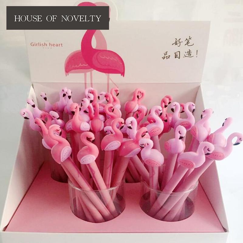 4 unids/lote 0,5mm Gel de flamenco rosa de la suerte regalo promocional bolígrafos papelería Escuela y oficina