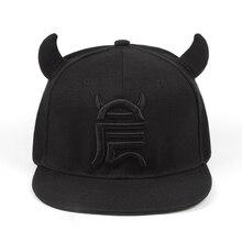 Casquette de baseball pour hommes   Casquette de baseball pour femmes, chapeau hip-hop en coton noir, petit diable en os, chapeaux à capuche