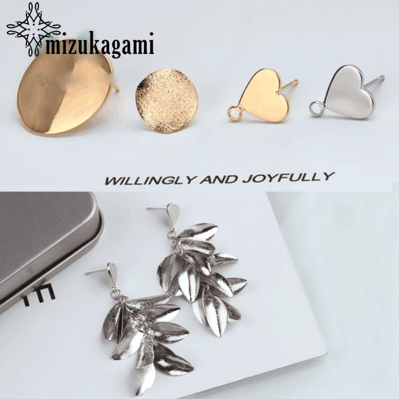 Tassel Leaves Elliptical Heart Metal Base Earrings Connector 10pcs/lot For DIY Fashion Drop Earrings Jewelry Making Accessories