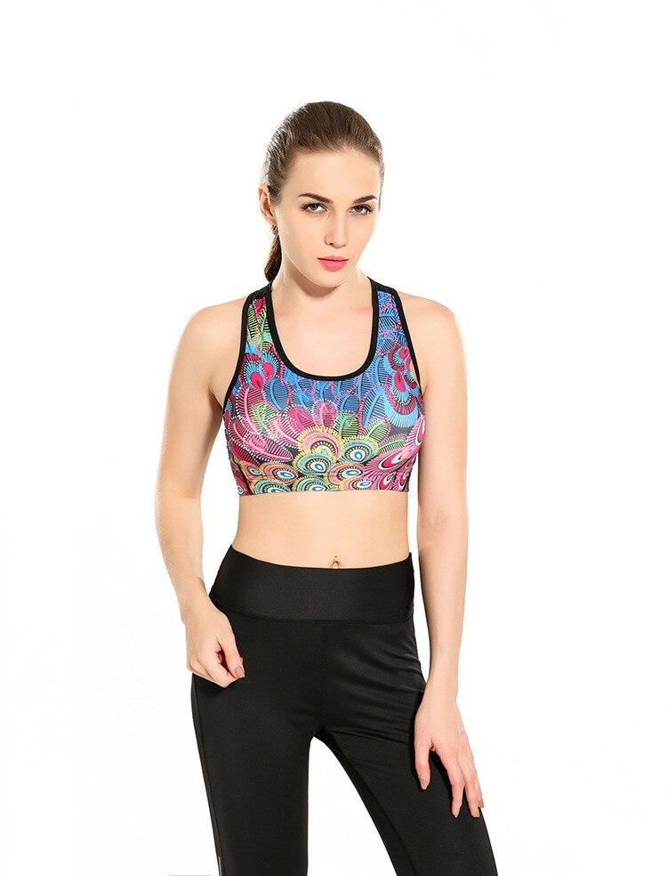 Mulheres colorido da pena do pavão de fitness curto colete fibra de underwear seamless estiramento regatas hiphop treino sem fio sutiã macio