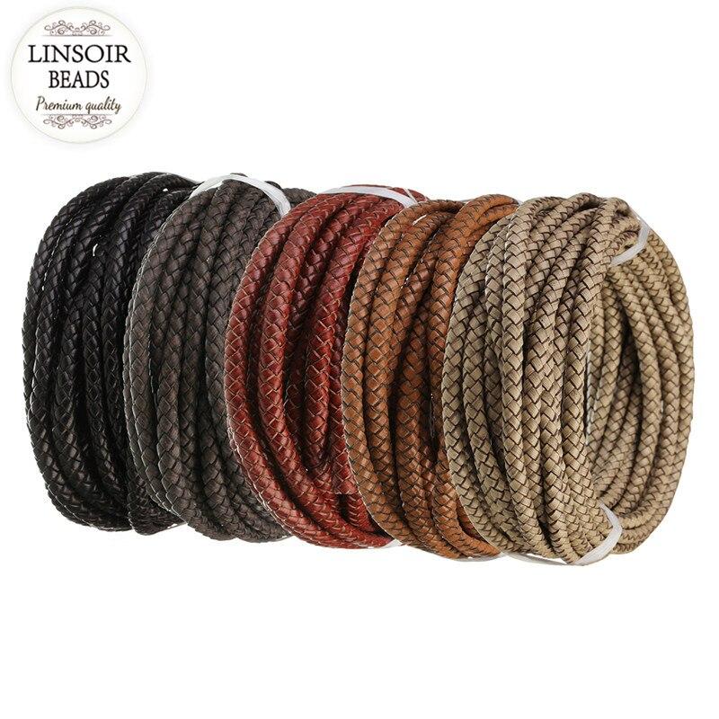 Linsoir 1 m/lote 6mm genuíno trançado cabo de couro corda ajuste colares pulseiras descobertas linha de couro diy jóias fazendo f5509