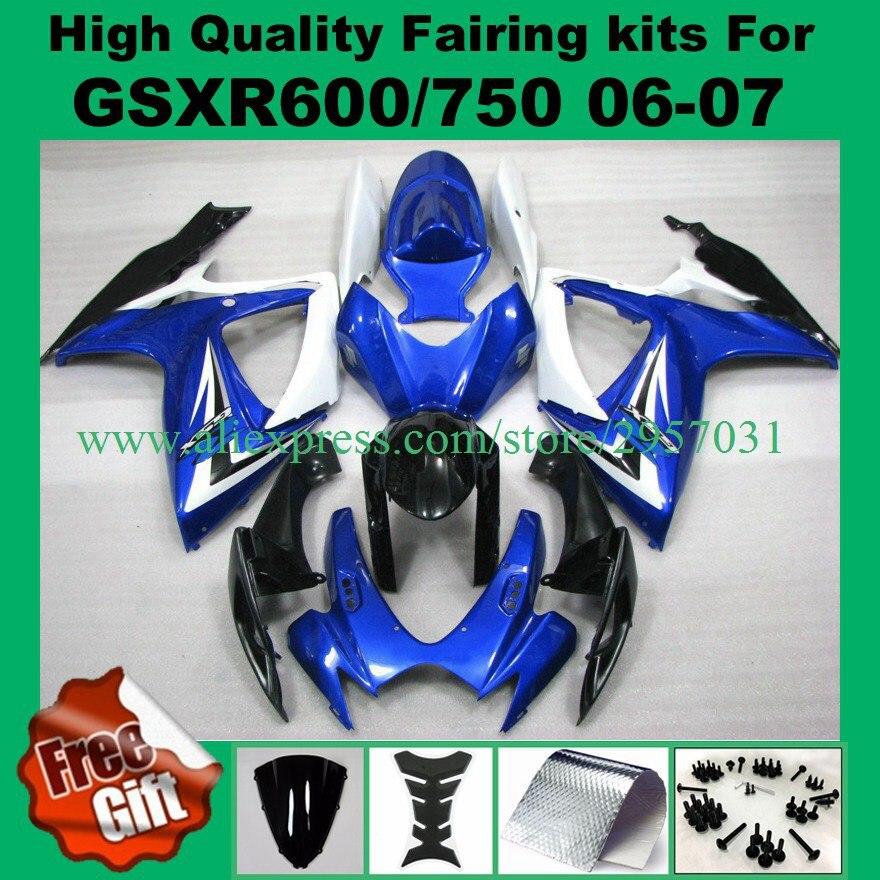 K6 k7 fairings لل ل 06 07 gsxr600 gsxr750 06-07 سوزوكي r750 r600 2006 2007 أزرق أبيض أسود