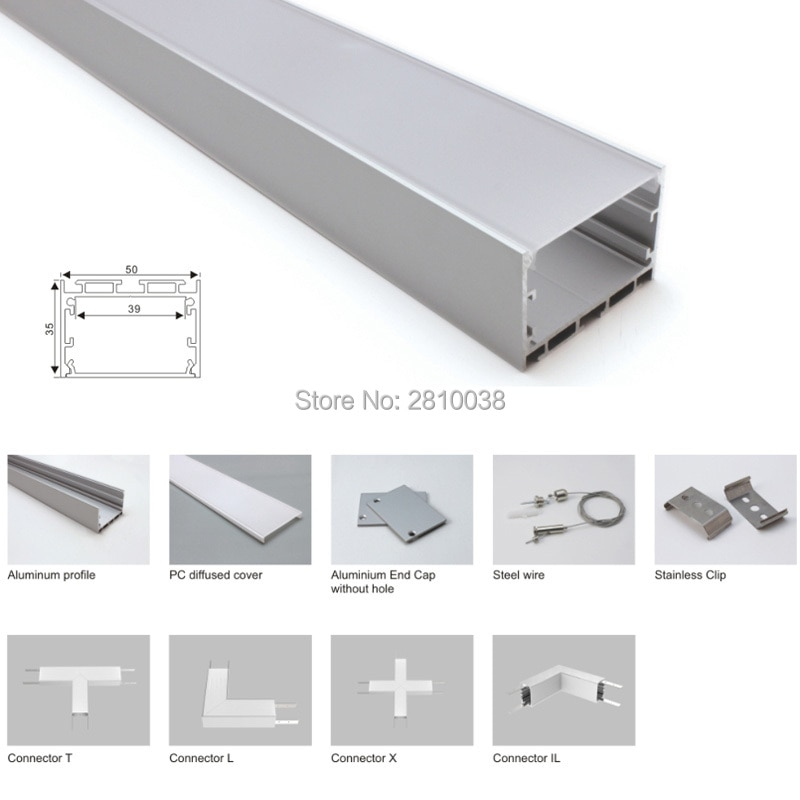 100 X 1M Sets/Lot New arrival aluminum profile for led light and square led profile channel for suspension or pendant lights