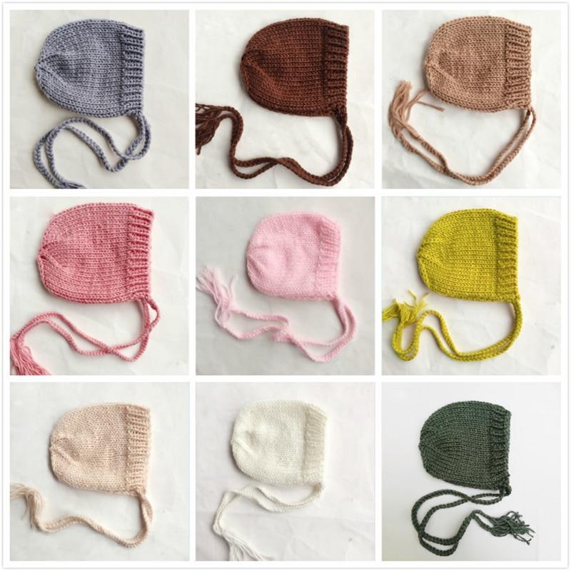 Мягкий Вязаный шапочка для новорожденного, для малыша фото реквизит однотонные кепки младенец мальчик девочка вязаная шапочка Осень Зима Р...
