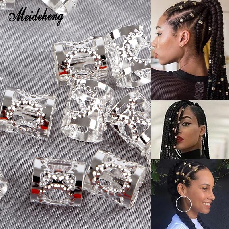 Anillos de pelo de lámina metálica de hierro ajustable, cuentas de plata dorada para trenzas de Rastas, adorno con estilo moderno para decoración de cabello largo