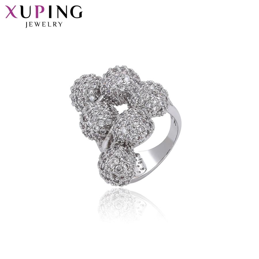 Xuping joyería de moda Hyperbole estilo brócoli forma rodio plateado anillo para las mujeres diseño único regalo S122.7-15837