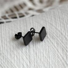 Tytanu 316l ze stali nierdzewnej czarny krótkie 8mm kwadratowy stadniny kolczyki dla kobiet mężczyzn