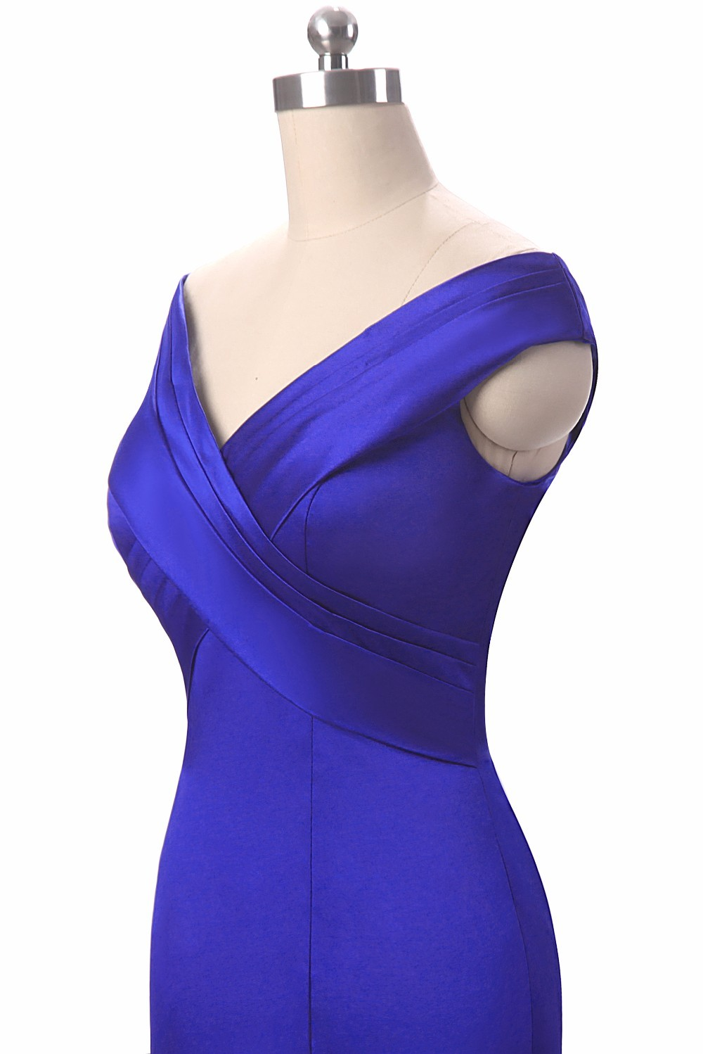 Royal Blue V-Neck Floor Length Mermaid Long Evening Dress 6
