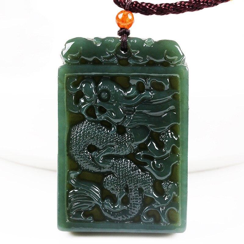 Colgante de Jade de nefrita verde oscura Natural, colgante de dragón chino tallado, collar de amuleto de la suerte para joyería y cuerda para hombres