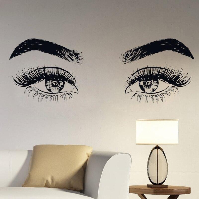 Calcomanía de vinilo para pared de ojos, decoración para el hogar, sala de estar, maquillaje Microblading, pegatina artística de pared para chicas hermosas, pestañas, cejas G06