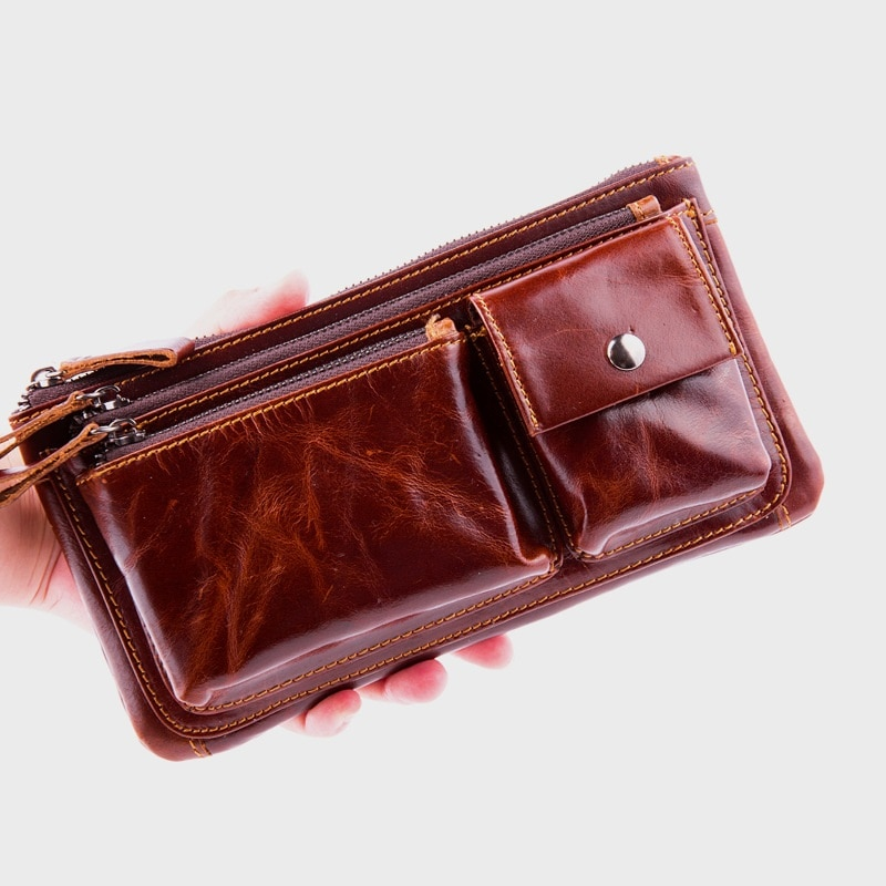 Multi-función de cuero genuino divertido Pack hombres impermeable cintura bolsa Casual dinero teléfono bolsa marrón rojizo cinturón bolsa