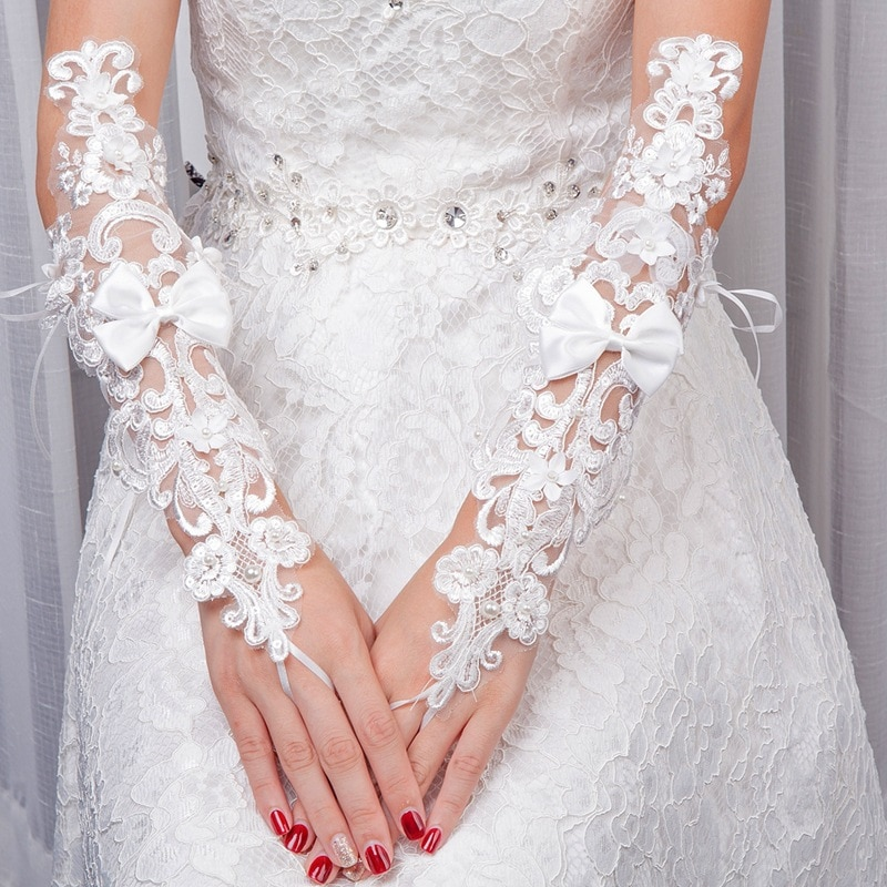peep toes summer wedding shoes bride hs319 white lace pearls luxury handmade plus sizes 34 43 female women s bridal wedding pump JaneVini White Long Fingerless Wedding Gloves With Pearls Bow Women Bridal Lace Aplique Wedding Glove Elbow Length Bride Gloves