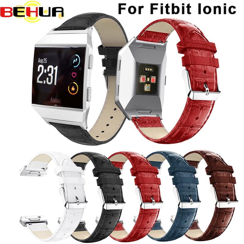 Alça pulseira Para Fitbit Ionic tiras Perfuradas Genuine relógio de Couro Pulseira Pulseira Pulseira Acessório Drop Shipping