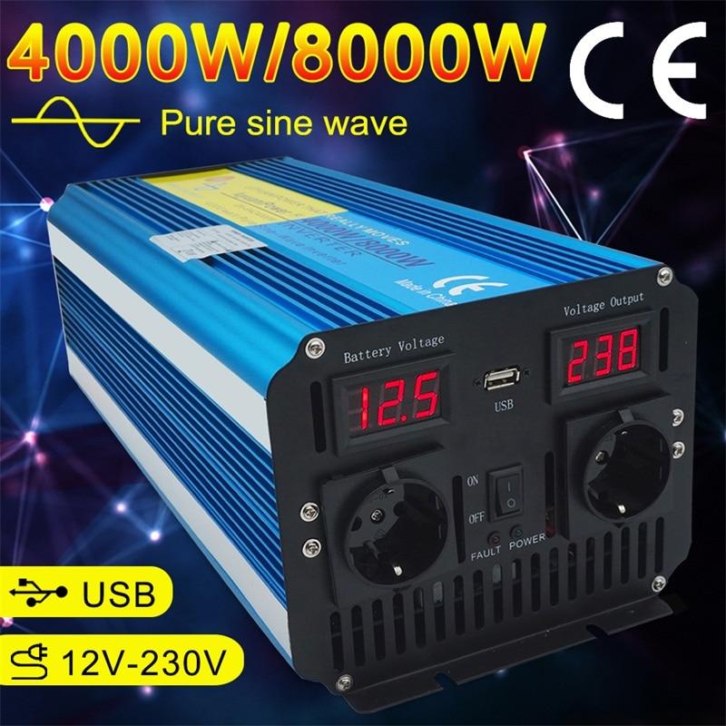 Display led duplo 8000w inversor de energia de onda senoidal pura dc 12v/24v para ac 220v/230v/240v com 3.1a usb duplo soquete da ue