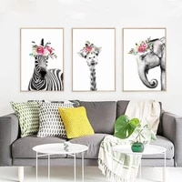nordic minimalism watercolor animal flower canvas painting living room wall art picture home decoration posters and prints