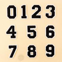Numer: 0 1 2 3 4 5 6 7 8 9 rozmiar: 3.8*5cm łatka wyszywana aplikacja szycie ubrań naklejki odzież akcesoria odzieżowe