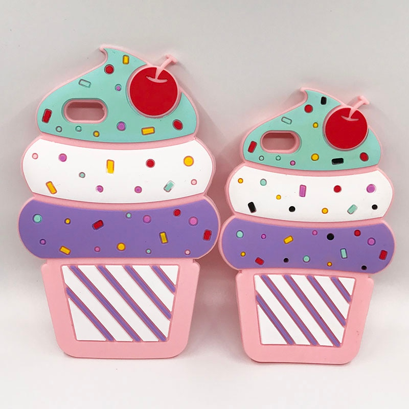 Neue 3D Kirsche Cupcake Eis Cartoon Capa Weichen Silikon Telefon Fall Abdeckung Für iPhone 8 7 7 Plus 5 5 s SE 6 6 s Plus 6 SPlus Coque