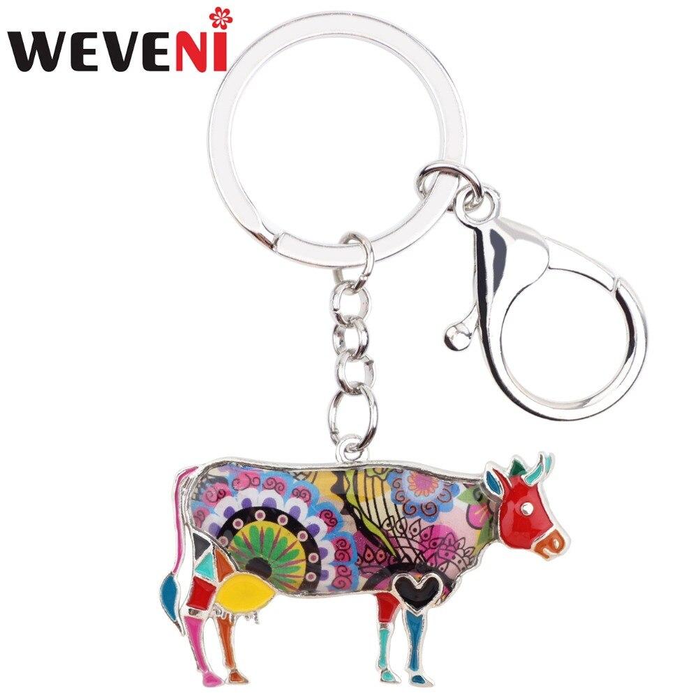 WEVENI Enamel Metal Floral Cattle Bull Key Chain Key Ring Keychain Jewelry For Female Women Teens Keyring Car Farm Animal Bijoux