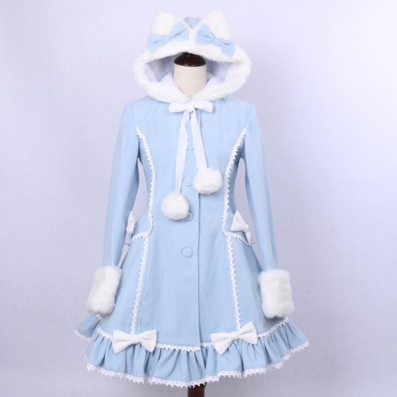 Женское однобортное пальто, светло-синее пальто с капюшоном и кошачьими ушами в стиле Лолиты для девочек, 2019