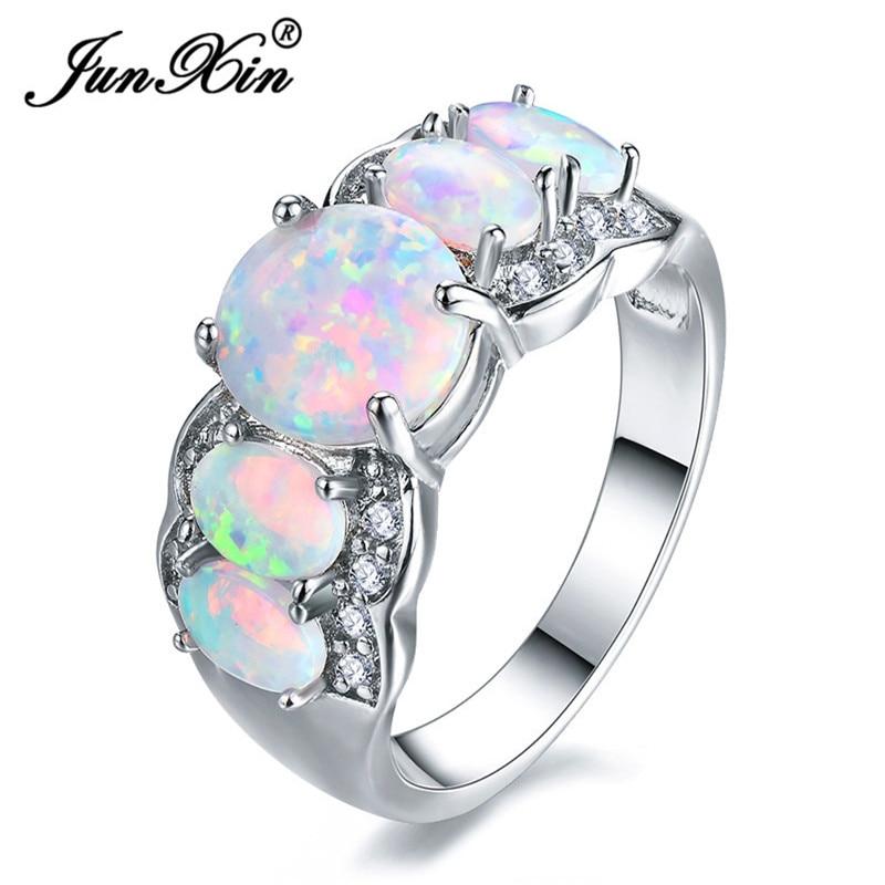 Женское кольцо JUNXIN, белое золото, заполненное роскошным большим овальным камнем, Белый огненный опал