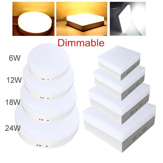 Regulable, 6W, 12W, 18W, 24W, Panel de luz LED cuadrado montado en superficie, lámpara de iluminación para interiores, AC 110V 220V