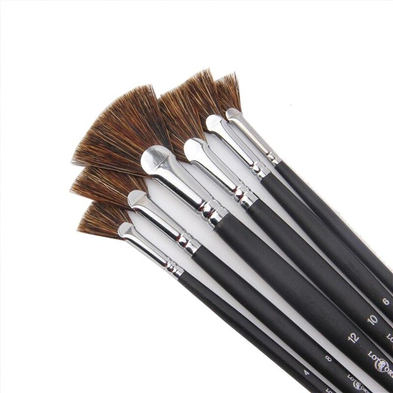 6pcs/Set Special offer Wild Boar Bristle brush pen set fan shape art supplies painting pen oil painting brush Student Stationery