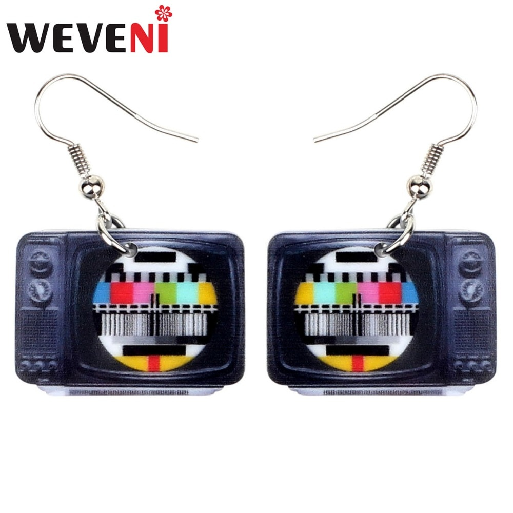 WEVENI Statement Acrylic Classical Television Earrings Drop Dangle Big Long Fashion Jewelry For Wome