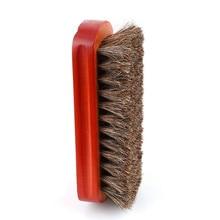 Horse Hair Shoes Brush Wood Natural Leather Real Horsehair Shoe Brush Polish Soft Polishing Bootpolish Boot Clean Tools