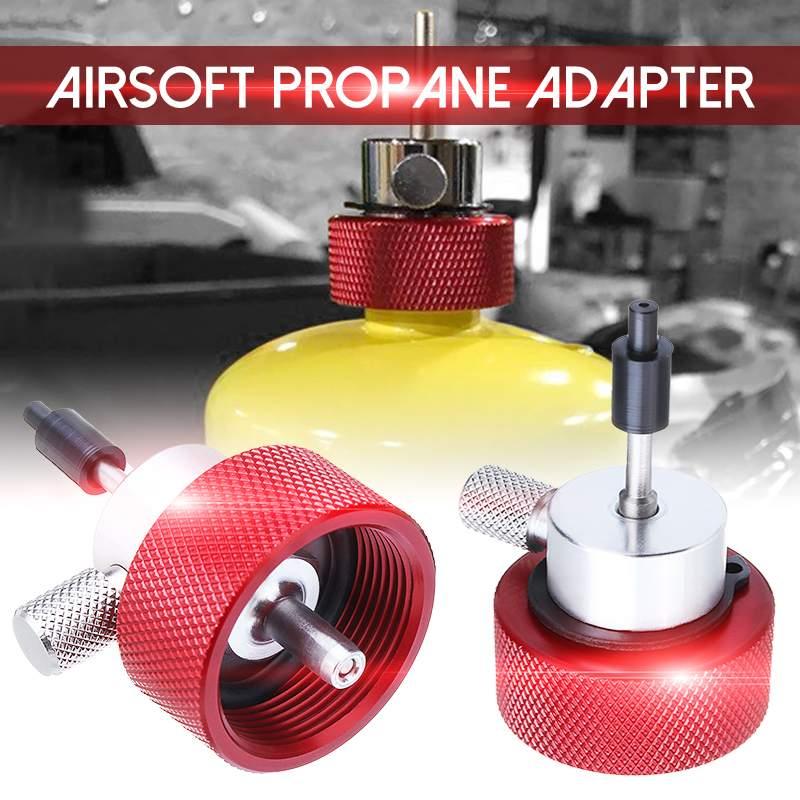 Venta caliente Metal rojo silicona Mew Airsoft propano Adaptador de llenado para tanque de Gas propano verde con puerto de aceite de silicona Gas adaptador