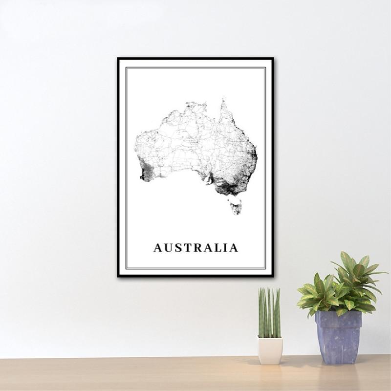 Australia City Road Map Art Poster Prints Sydney Melbourne Brisbane Oceania Map Art Painting Picture Office Wall Art Decor