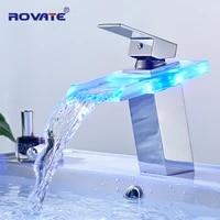 ROVATE LED robinet de lavabo en laiton cascade couleurs de temperature changent robinet mitigeur de salle de bains monte sur le pont  robinets de lavage devier en verre