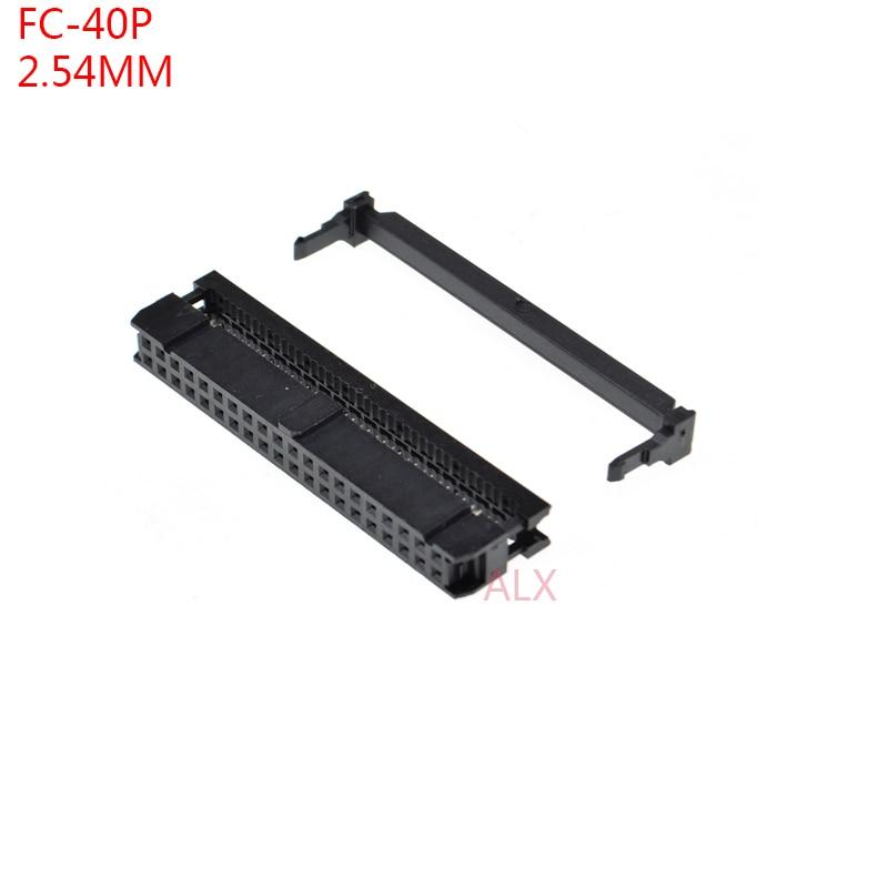 10 Uds FC-40p paso del zócalo IDC 2,54 MM JTAG ISP conector de clavija doble fila hembra 2x20PIN 40PIN 40P para encabezado de caja IDC para cable