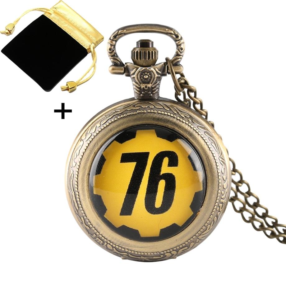 Ретро в Fallout 4 хранилище 111 FALLOUT 76 тема кварцевые карманные часы для детей Цепочки и ожерелья Цепь Брелок часы с подарком мешок/коробка часы на...