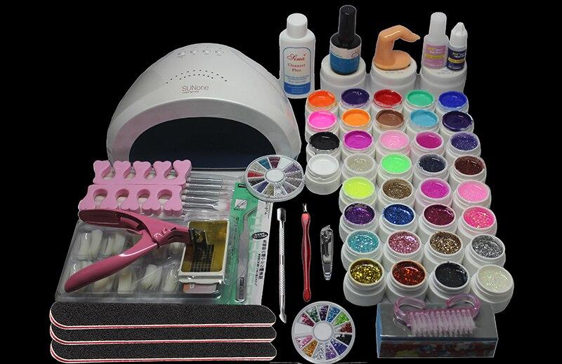 Набор для нанесения гель лака лампа ногтей 48 Вт 36 цветов набор инструментов