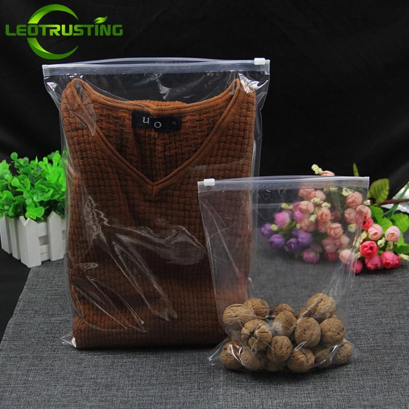Leotrusting 50pcs 120mic Both Sides Clear Clothing Zip Lock Bag Underwear T-shirt Baby Clothes Packing Bag Garment Storage Bag