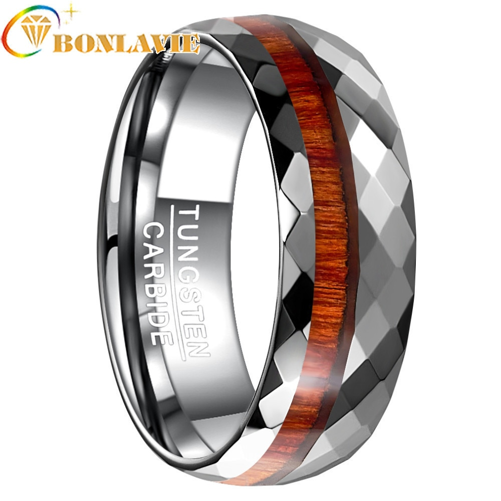 2018 nueva moda 8MM de ancho patrón pulido flor grano de madera tungsteno acero anillo hombres boda bandas joyería