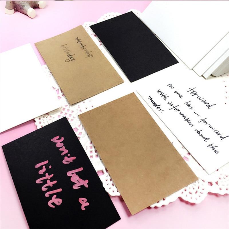 100pcs/lot Students DIY Blank Postcards Vintage Blank Series Kraft Paper DIY Greeting Card Brown White Black Gift Card