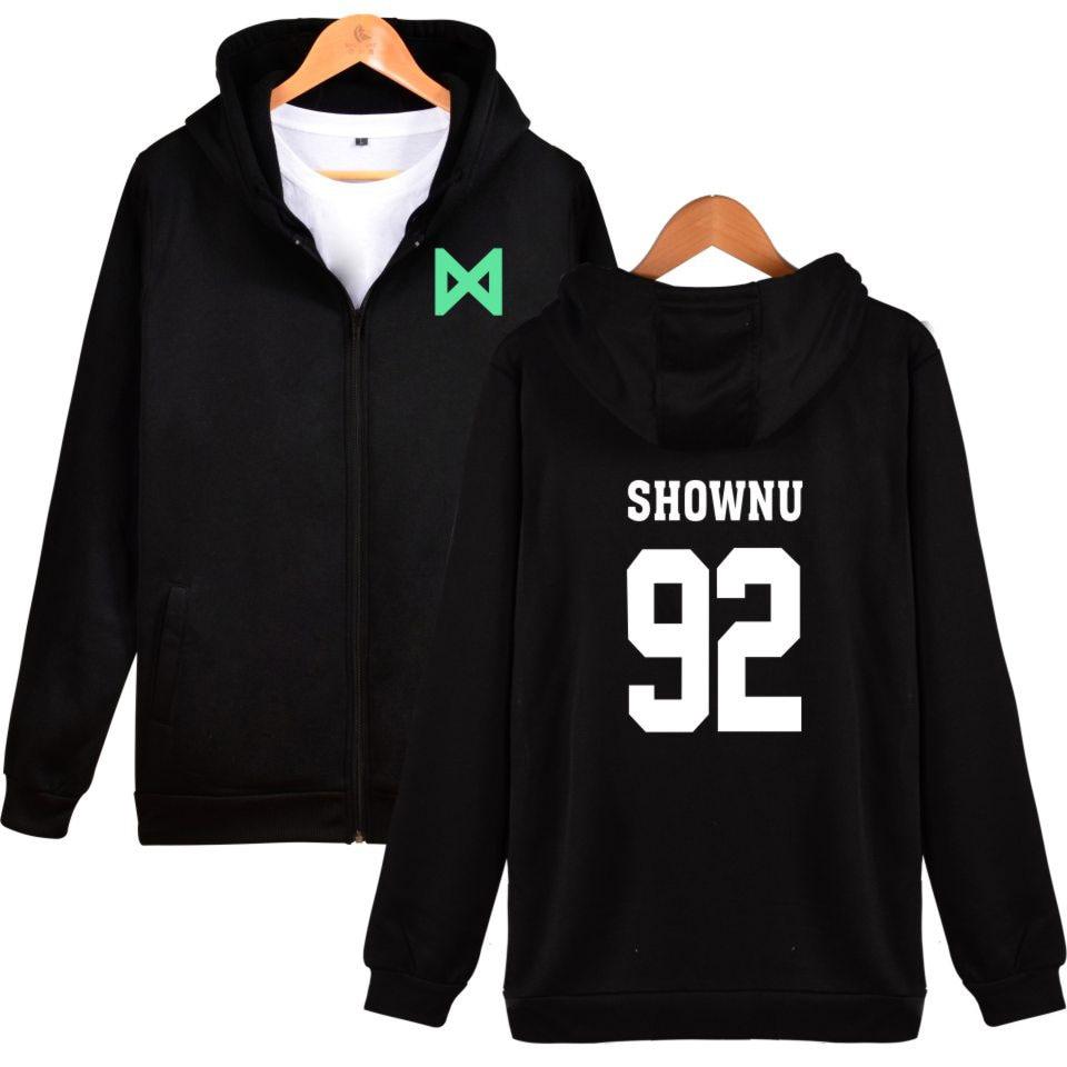 Monsta X Print Zipper Hoodies Women Men Kpop Fashion Female Fans Hoodie Sweatshirt Korean Jacket Coat Hip Hop Clothing XXS-4XL