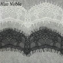 Han Noble 10 см ширина Черно-Белая французская кружевная ткань отделка Свадебное Украшение Швейные ресницы кружевная лента LT037 Рождество 3 метра