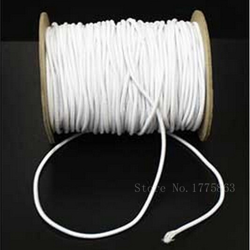 2.5 milímetros de largura Branco Rodada Chapéu de Malha Elástica Cord-AA7605 10 metros para Costura