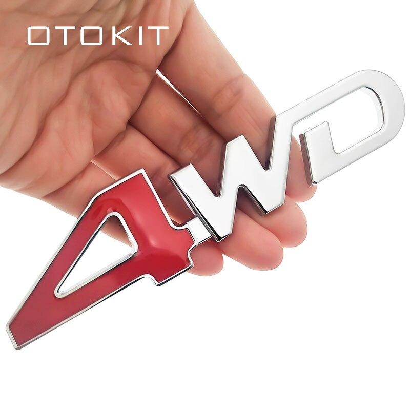 Автомобильный задний металлический жетон 4x4, Радиоуправляемая машинка 4WD, стикер, 3D хромированный знак, автомобильная эмблема, наклейка, авто Декор, Стайлинг, 4WD, красный, для внедорожника, багажника