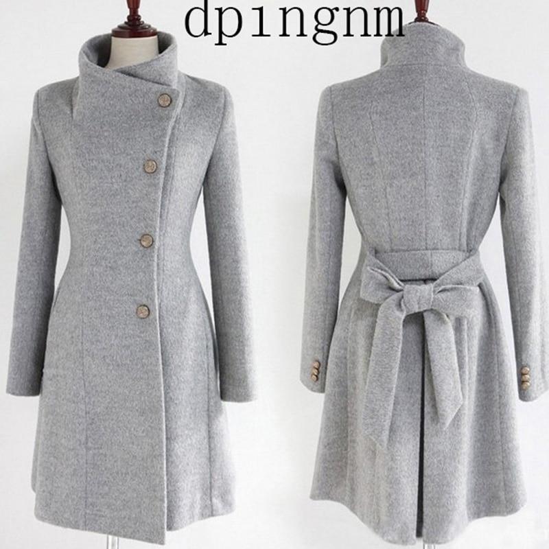¡Novedad! gabardina larga a la moda para mujer, abrigo de mezcla de lana para primavera y otoño 2019, gabardina de un solo pecho para mujer