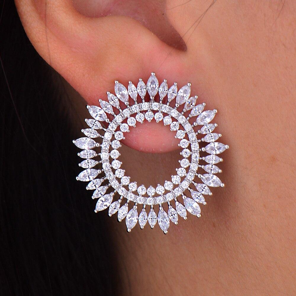 GODKI Fashion AAA Cubic Zirconia Brilliant Elegand Circle Olive Branch Big Stud Earrings for Women Earring Fashion Jewelry