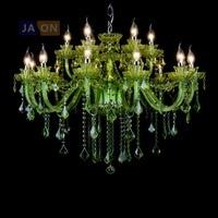 led e14 European Iron Crystal Glass Green Chandelier Lighting Lamparas De Techo Suspension Luminaire Lampen For Foyer