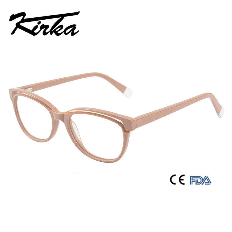 Kirka Fashion Khaki Eye Glasses Frame Clear Lens Optical Eyeglasses Acetate Beige Eyewear Frames Spectacle for Women
