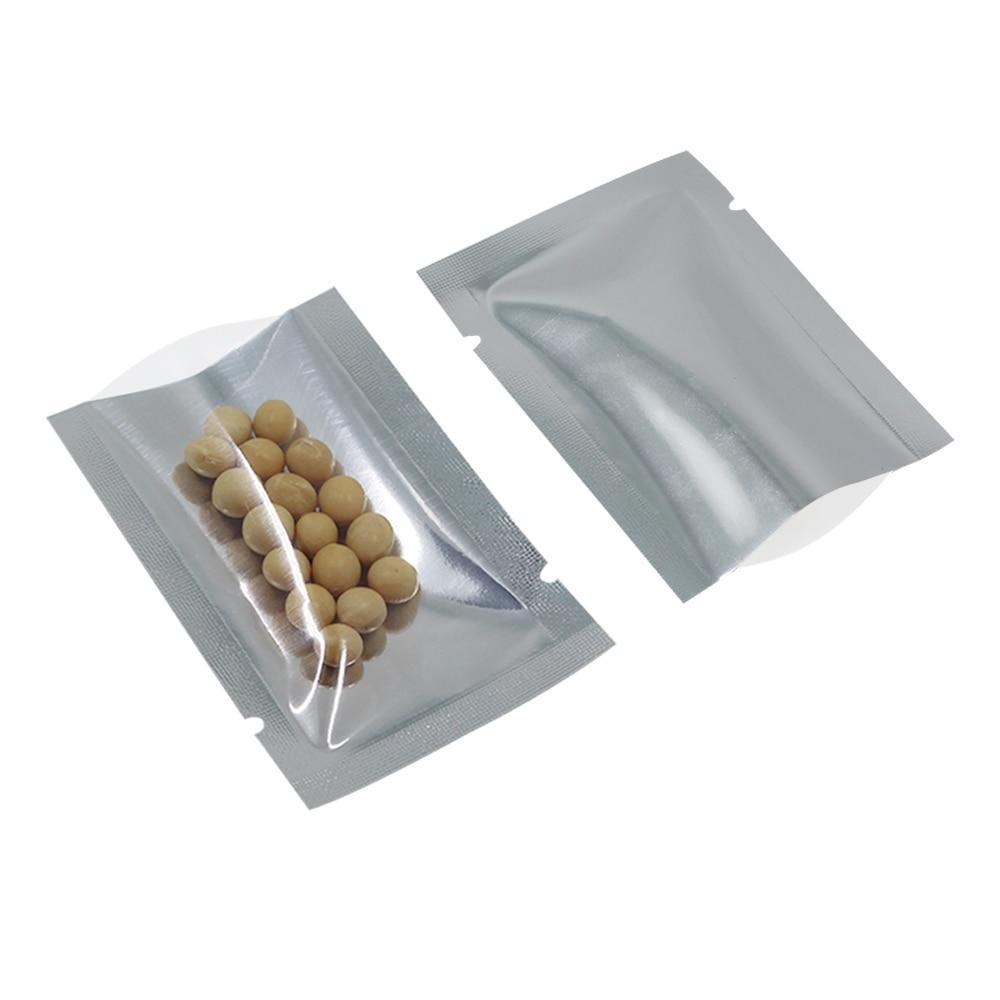 200Pcs/Lot Transparent Open Top Silver Aluminium Bags for Food Packing Clear Plastic Mylar Heat Seal Vacuum Packaging Bags