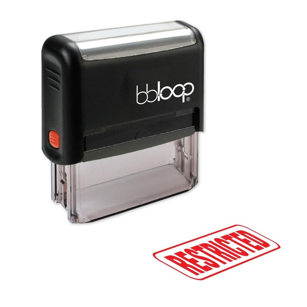 "BBloop ""RESTRICTED"" W/sello autoentintado de borde redondo, Rectangular, grabado con láser, rojo/azul/negro"