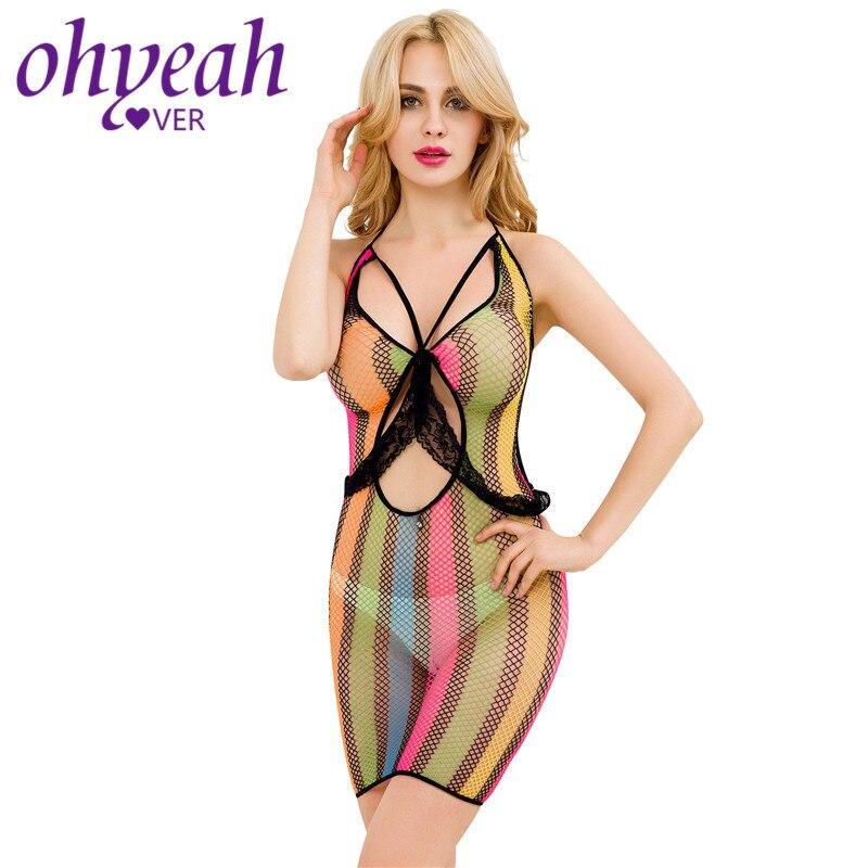 Ohyeahlover Sexy iridiscence Hollow langery disfraz sexual para mujer ropa exótica caliente vestido de rejilla Porno Sexi ropa de dormir para mujer