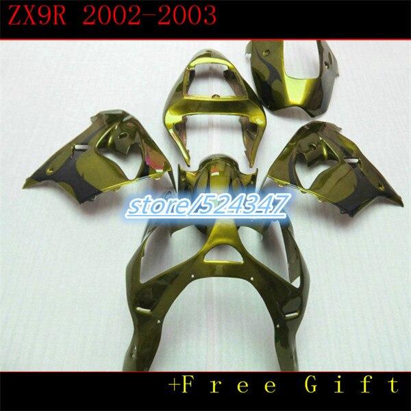 B Custom motocicleta paquete gratis ninja ZX9R Kawasaki Ninja 2002 2003 9 R ZX9R amarillo verdoso barca primer carenado secciones